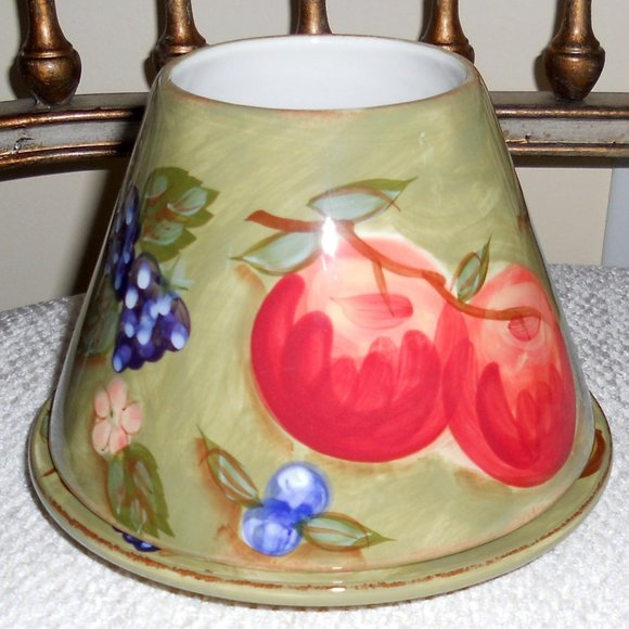 Yankee Candle Jar Candle Shade Topper and Plate Olive Green  w/Fruits Flowers